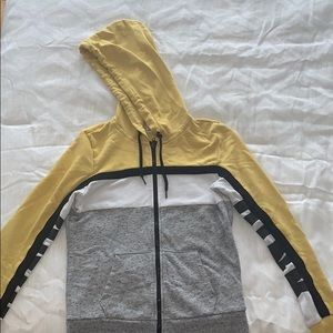 PINK vs yellow and grey hoodie
